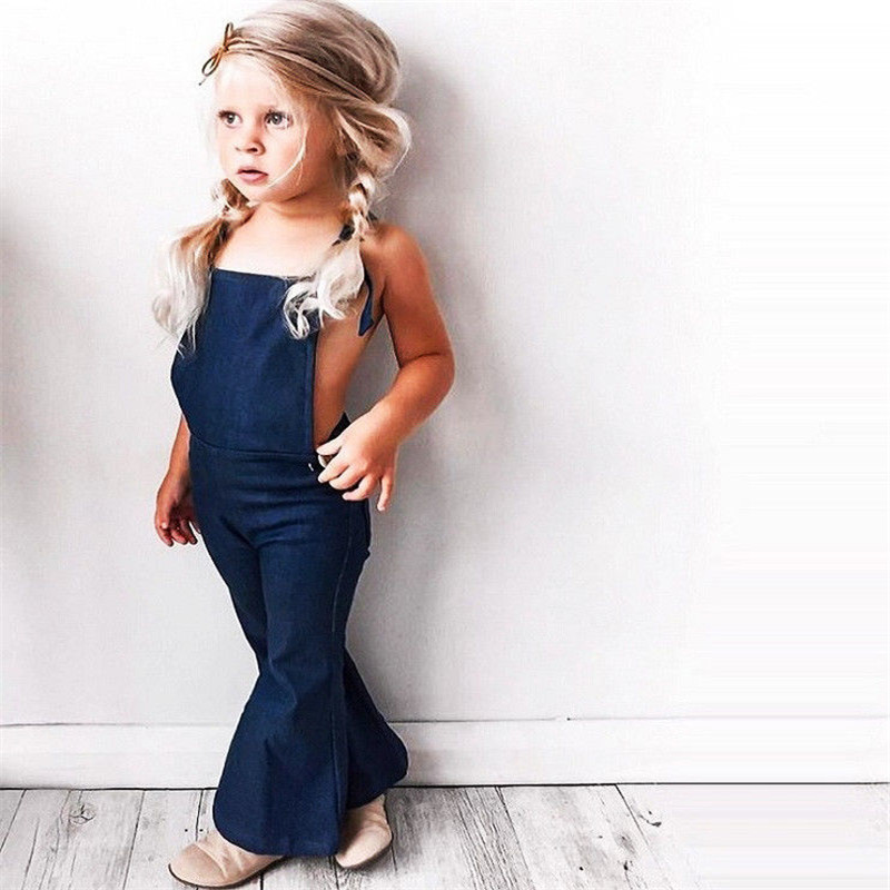 цена 2018 Fashion Toddler Kids Baby Girl Sleeveless Backless Strap Denim Overall Romper Jumper Bell Bottom Trousers Summer Clothes