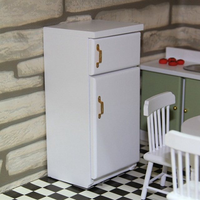 US $9.55 30% OFF Miniature Kitchen Furniture White Wooden Fridge  Refrigerator Freezer Children Toy Decor Classic Toys for Child Kids Gift  ZXY9687-in ...