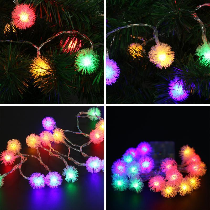 20LED Festive Decorative Colorful Lights Dandelion Light String Hair ball hanging light string Christmas Lighting