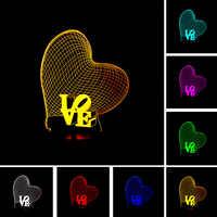 3D amor corazón LED noche luz romántica atmósfera lámpara iluminación caliente boda decoración amantes y pareja y regalos enamorados