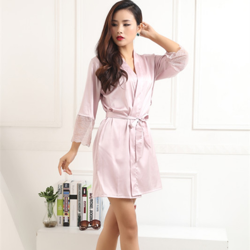 Women Silk Satin Robes Sexy Kimono Nightwear With Belt Sleepwear Pajama Bath Robe Nightgown