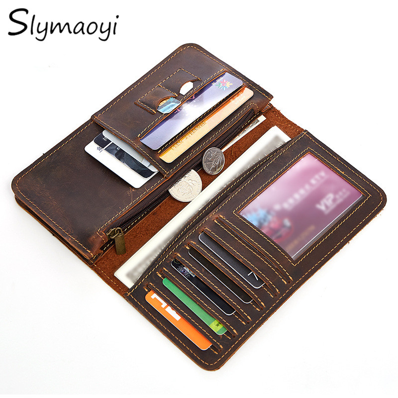 Slymaoyi Genuine Crazy Horse Cowhide Leather Men Wallets Fashion Purse With Card Holder Vintage Long Wallet Clutch Wrist Bag crazy horse leather billfolds wallet card holder leather card case for men 8056r 1