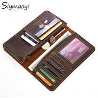 Slymaoyi Genuine Crazy Horse Cowhide Leather Men Wallets Fashion Purse With Card Holder Vintage Long Wallet