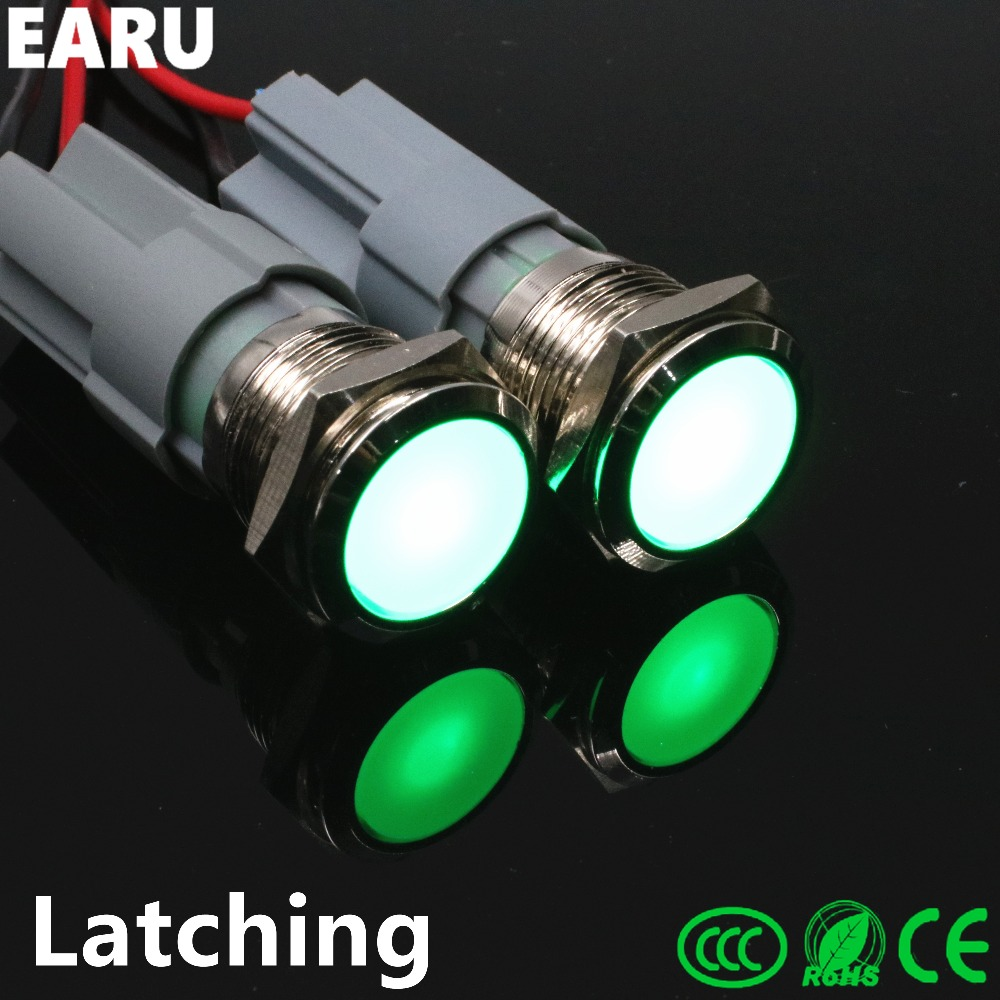 10pcs 16mm 19mm Stainless Steel Metal Push Button Switch Wterproof Latching Self-Lockin Looking Full Surface Light Auto with LED 1 x 16mm od led ring illuminated latching push button switch 2no 2nc
