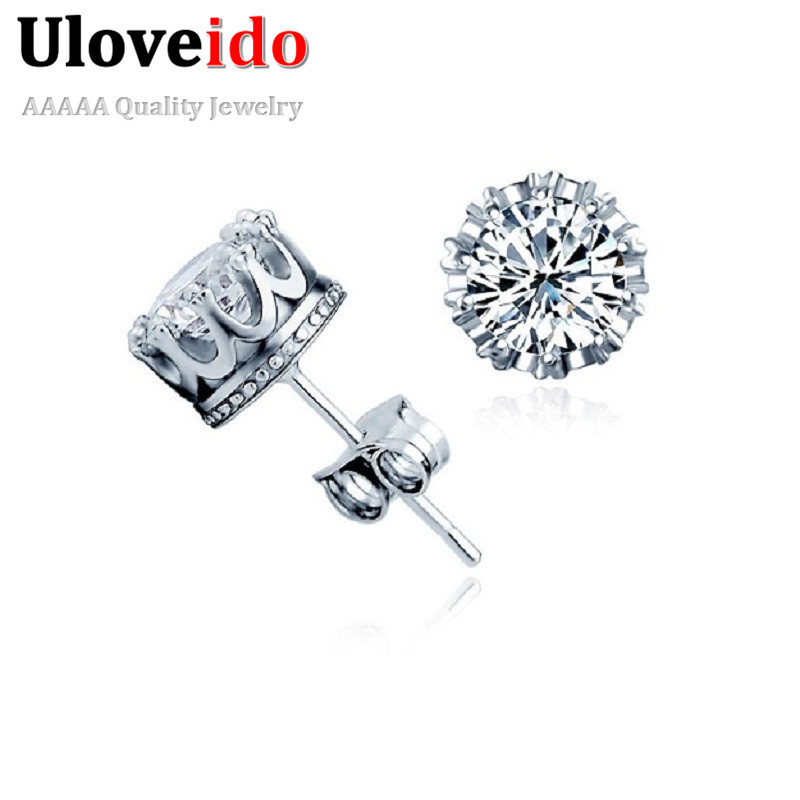Uloveido Cubic Zirconia Crown Stud Earrings for Women Silver Color Earings Fashion Jewelry Brincos Earring with Stones Y048