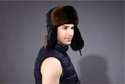 Из натуральной кожи кролика Рекс волосы шляпа мужской зима утолщение сумка из воловьей кожи тепловой пятидесяти лет Cap стаж без каблука