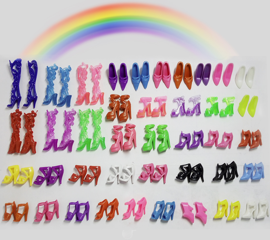 40 pairs/lot Colorful Assorted shoes for Barbie Doll with Different styles Toys High Quality Christmas Gift For Girls 500pairs lot wholesale high quality high heel shoes for 30cm dolls mixed styles sandals slippers 10pairs pack doll shoes pack