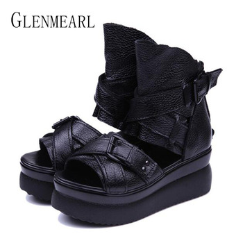 2018 Summer Genuine Leather Women Sandals Platform Women Shoes Wedge Heel Fish Head High Heels Black Sandals Singles Shoes 20