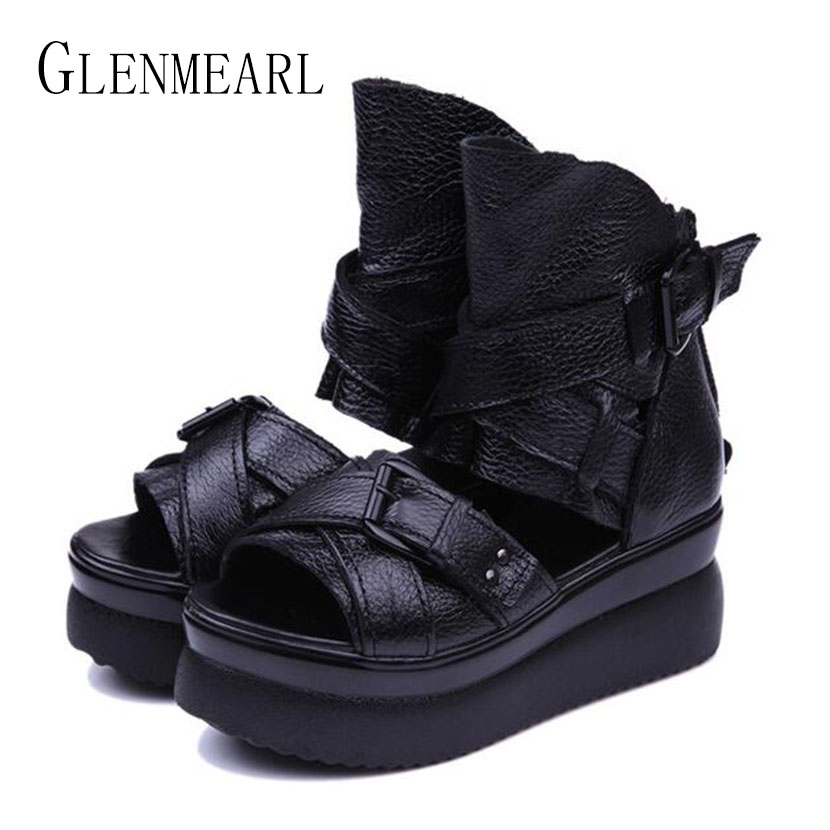 2018 Summer Genuine Leather Women Sandals Platform Women Shoes Wedge Heel Fish Head High Heels Black Sandals Singles Shoes 20