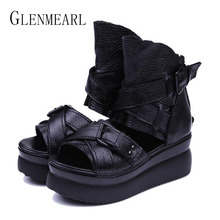 2015 Summer Hot ekte lærplattform damesko Wedge Heel Fish Head Høye hæler Black Sandals Singles Shoes