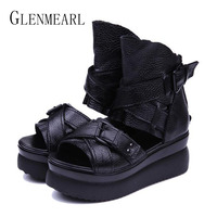 2015 Summer Hot Genuine Leather Platform Women Shoes Wedge Heel Fish Head High Heels Black Sandals