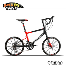 "Light 8.6kg 20"" Road Bike 16 speed 42cm Carbon Fiber Frame BMX Bicycle Twitter With Shimano Speed System & Mechanical Disc Brake(China)"