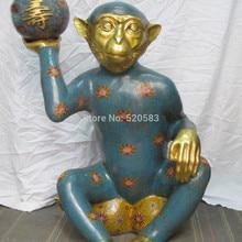 """3"""" Китай Бронза 24 К позолоченные Перегородчатой долголетия обезьяна рождения персики Статуя быстро"""