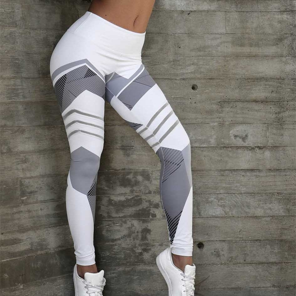 SLHJC Women Leggings Sporty Geometry Print Fitness Bodybuilding Pants Sexy Push Up Female Elastic High Waist Active Jeggings