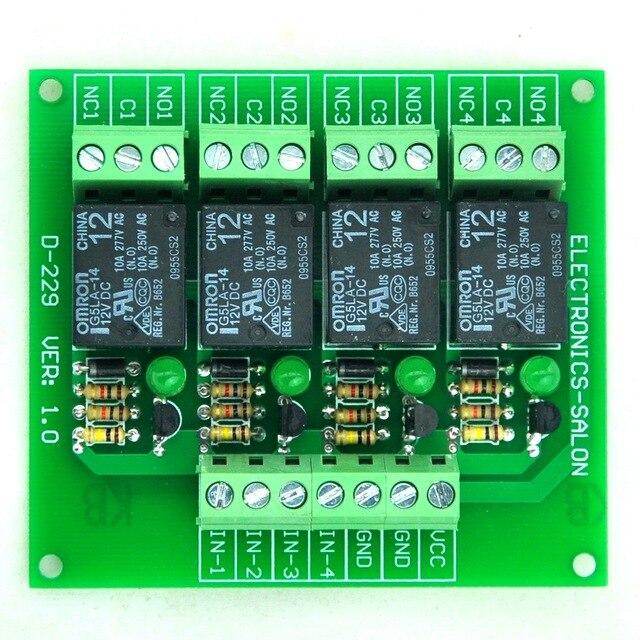 Четыре (4) SPDT 10Amp Мощность Релейный Модуль, DC12V Версия, для PIC/8051