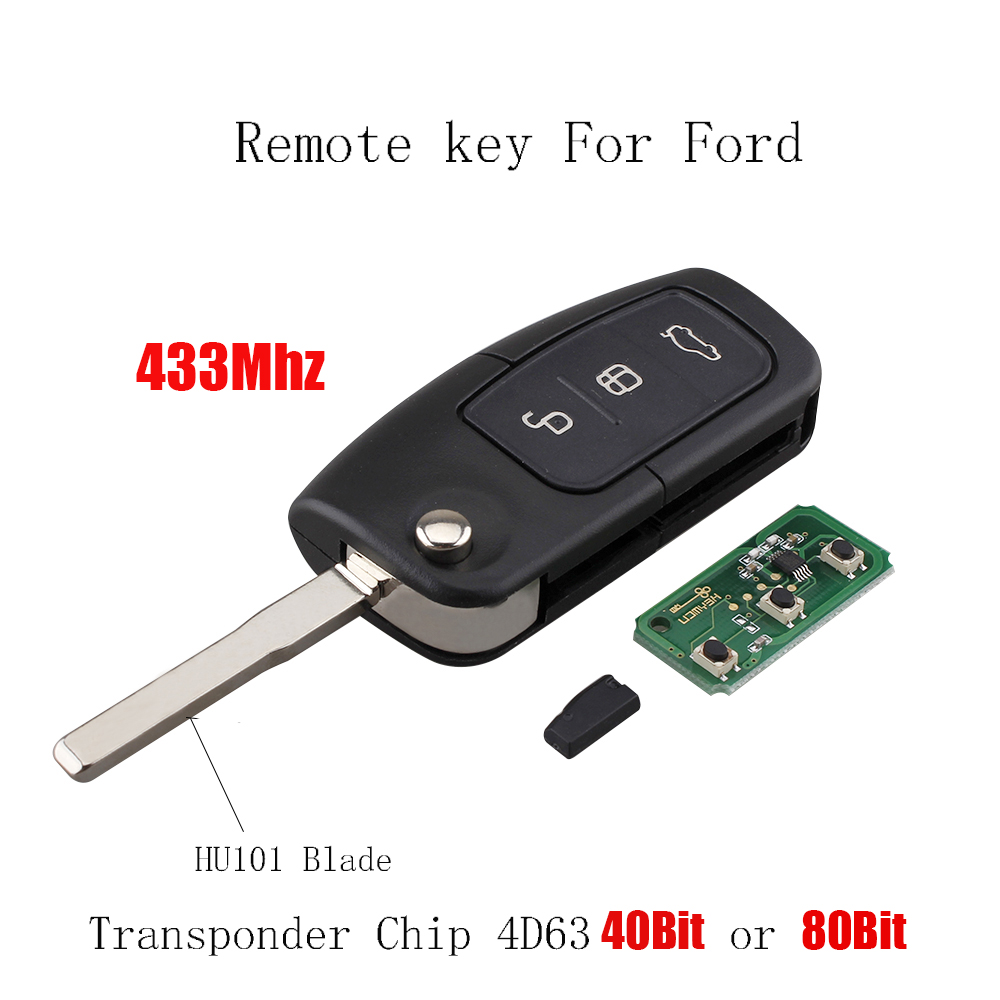 3 buttons FULL remote KEY fob 433MHZ with 4D63 chip HU101 For Ford Fiesta