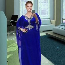 2017 Royal Blue Dubai Long Muslim Evening Dresses Kaftan Chiffon Beaded Arabic Formal Gowns Dress