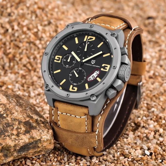 22645229c79 PAGANI PROJETO Relógios Homens Militar Relógio de Quartzo de Couro  Multifunções Chronograph Sports relógio de Pulso