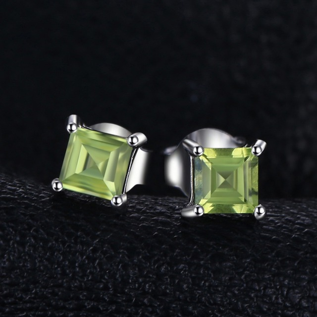 Square 0.7ct Natural Peridot 925 Sterling Silver Stud Earrings Fine Jewelry for Fashion Women Statement Jewelry