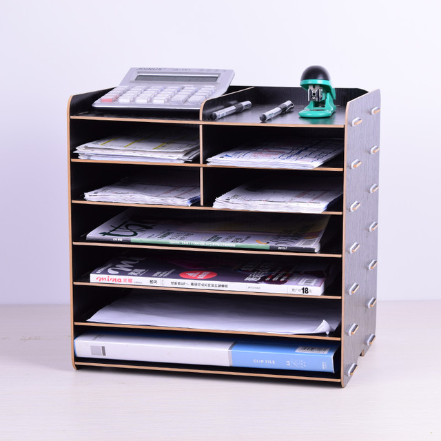Office Supplies Multi File Storage Rack 4 Wooden Cabinet Desk Doent Tray Shelf Clification
