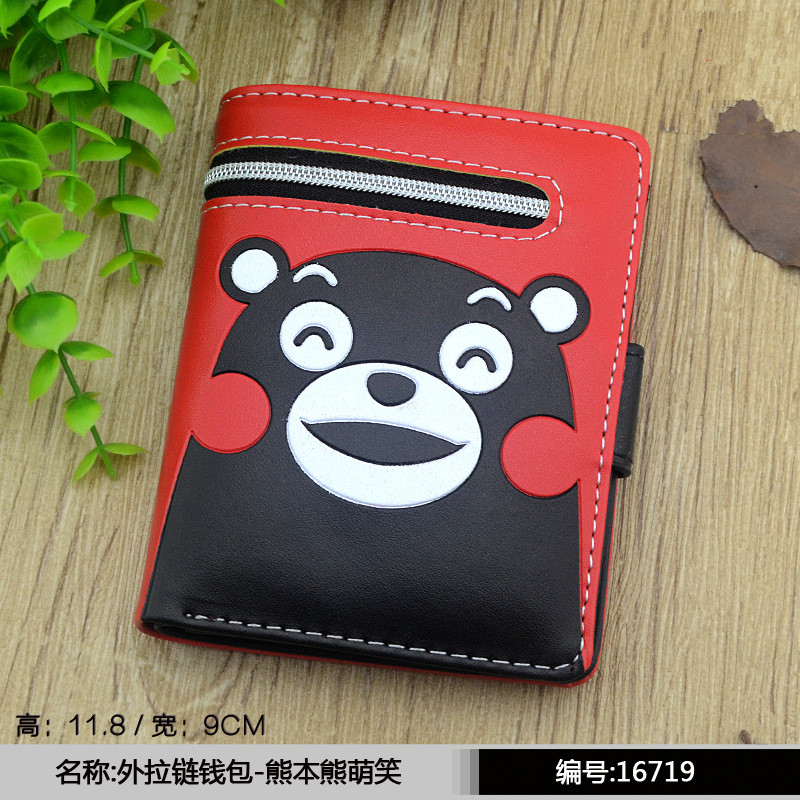 High Capacity Fashion Women Wallets PU Leather Wallet Zipper Clutch Coin Purse cartoon Kumamon totoro luffy purse female wallets striped pu zero wallet japanese mascot kumamon coin purse with interior zipper pocket