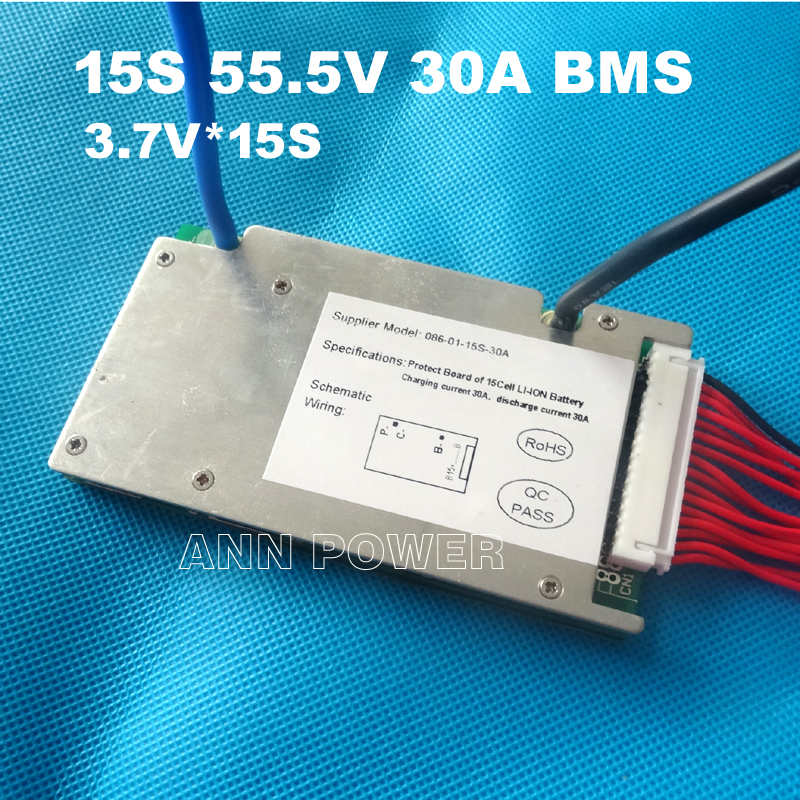 Free Shipping 15S 55.5V 30A BMS 30A continuous current 1500W BMS used for lithium ion battery pack With the function balance