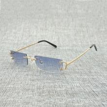 Kleine Objektiv Randlose C Draht Sonnenbrille Männer Zubehör Klar Brille Rahmen für Reisen Strand Party Retro Brillen Shades Männer