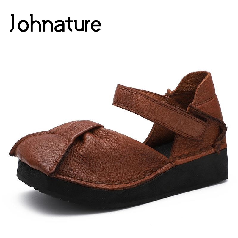 Johnature 2019 Summer New Genuine Leather Retro Solid Casual Ankle Strap Hook Loop Sandal For Women