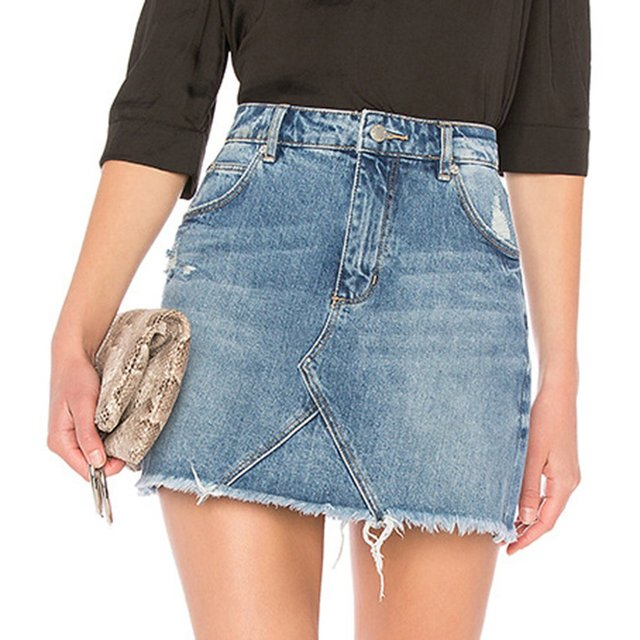 Sexy Women Denim Skirts Slim Mini Jeans Skirts With Pockets Elegant Harajuku Zipper