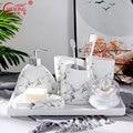 Marmor Bad Dekoration Set Wc Zubehör Keramik Zahnbürste Halter Zahnpasta Spender Häuser Eitelkeit Lagerung Veranstalter|Badezimmer Zubehör-Sets|   -