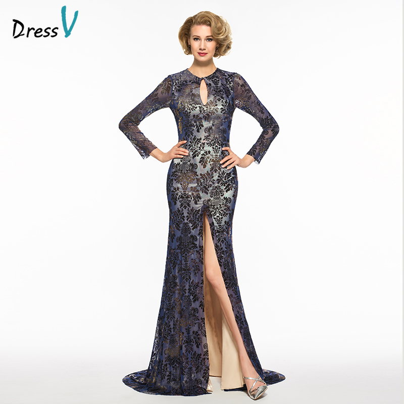 Dressv Scoop Neck Mermaid Mother Of Bride Dress Long Sleeves Floor Length Backless Button Long Mother Evening Gown Custom