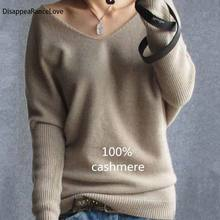 2019 Spring Autumn Cashmere Sweaters Women Fashion Sexy V-Neck Sweater Loose 100% Wool Batwing Sleeve Plus Size Pullover