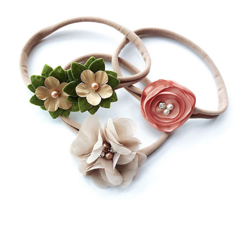 Pudcoco Baby Girl 3Pcs Kids Baby Girls Head Band Hair Bows Flower Girl's Headband Stretch Hairband