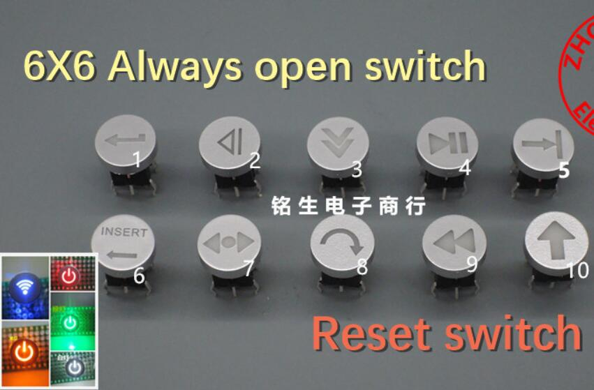 (cap+ Switch)=1pcs  Always Open 6X6 6*6 Reset Switch With Light Touch With LED Arrow Touch Button Switch With Lamp