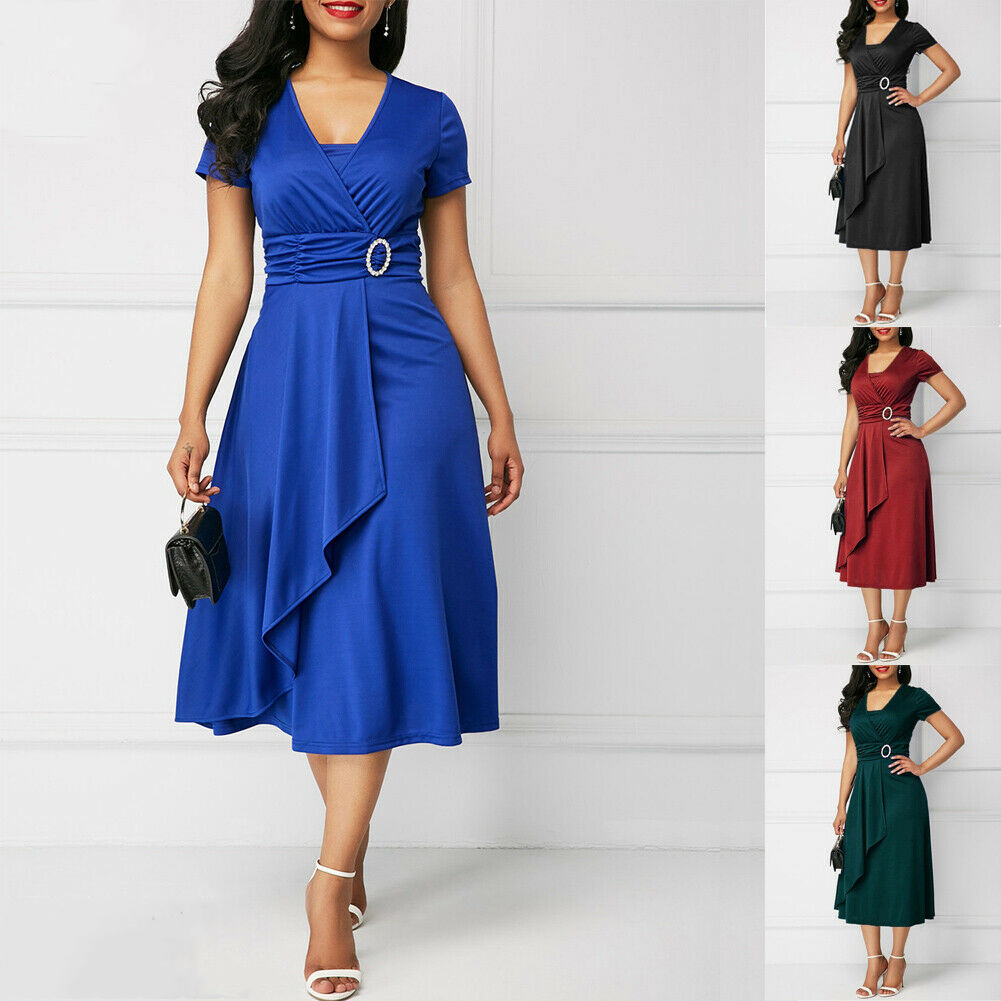Elegant Women High Waist Plain Asymmetric Midi Dress Fashion Summer Solid Casual Short Sleeve V-Neck Dress Sundress Plus Size