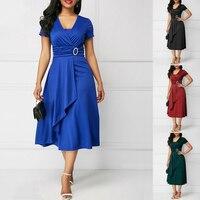 Элегантное женское простое асимметричное платье миди с высокой талией модное летнее однотонное Повседневное платье с v-образным вырезом и ...