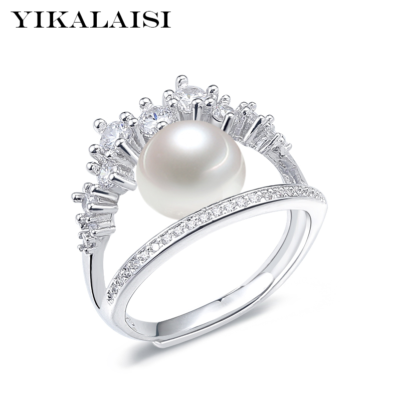 YIKALAISI 925 Sterling Silver Jewelry Pearl Jewelry Fashion 100% Natural 8-9 Mm Freshwater Pearl Rings Wedding