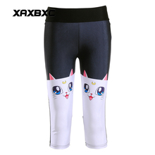 New 1196 Sexy Girl Women Sailor Moon Yatimisi Cute Cat 3D Prints Workout Fitness Elastic Cropped