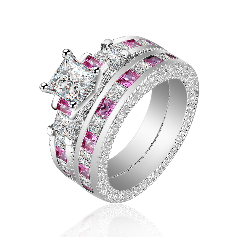 Classical Wedding Ring Sets for Women Bijoux For Lady Luxury CZ Diamond Jewelry Accessories Pink CZ Ring Fine Jewelry Anillos