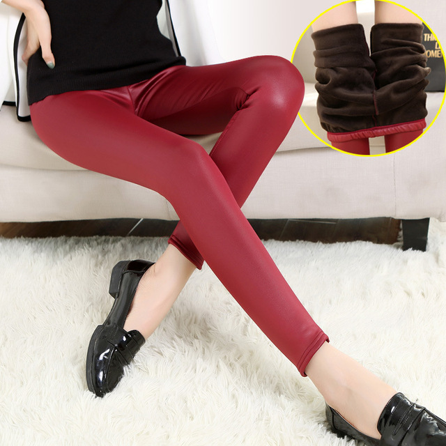 Winter Leather Leggings Ladies Solid Long Thick Warm Pencil Pants Leggings Femme