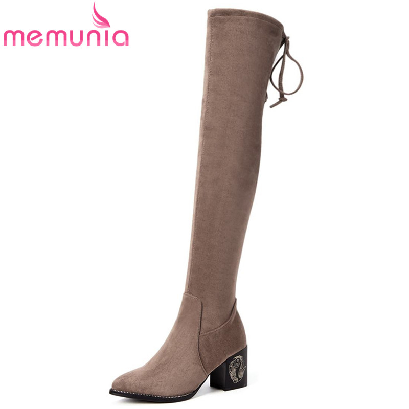 MEMUNIA 2018 new arrive over the knee boots women round toe suede leather boots sexy fashion  high heels party shoesMEMUNIA 2018 new arrive over the knee boots women round toe suede leather boots sexy fashion  high heels party shoes
