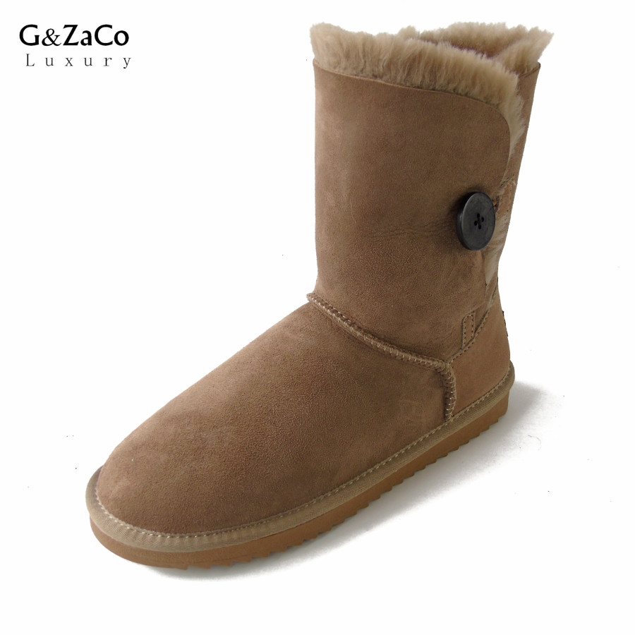 G&Zaco Luxury Sheepskin Snow Boots Winter Sheep Fur Wool Snow Boots Classic Thick Middle Button Women Leather Wool Boots Shoes 247 classic leather