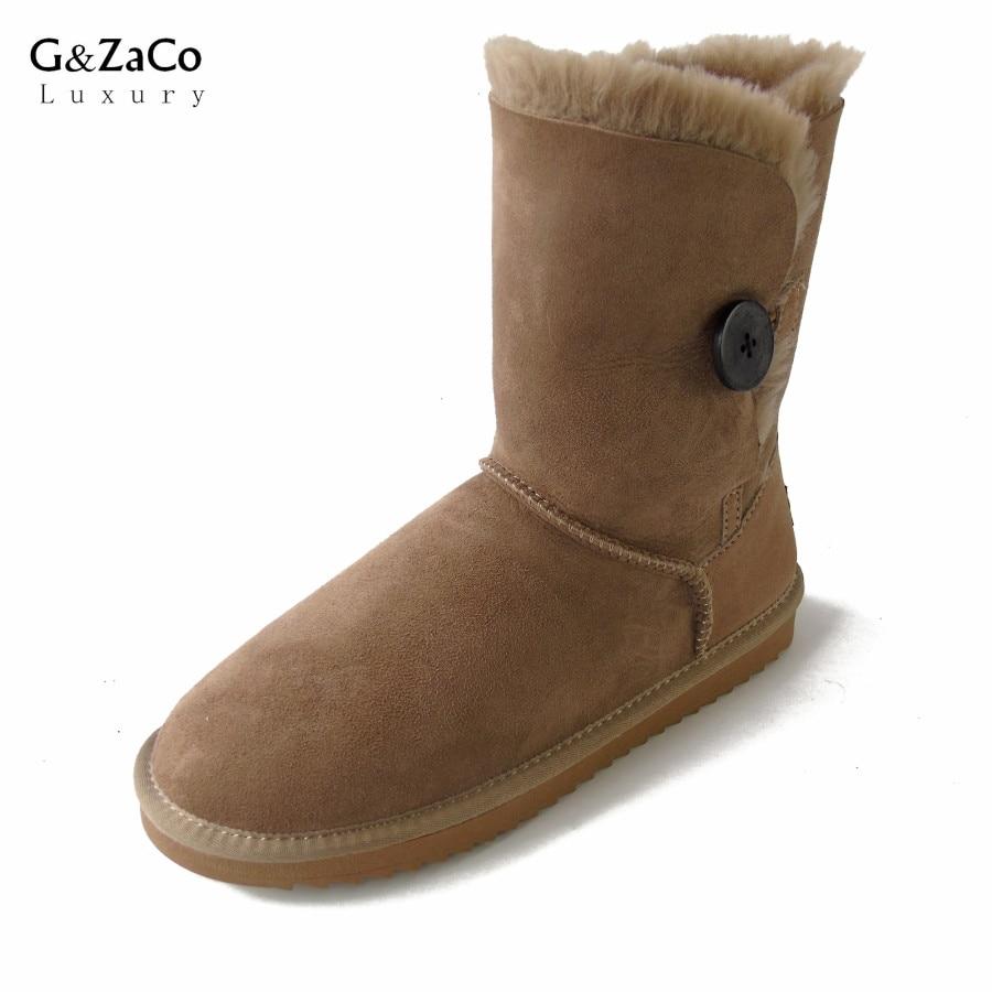 G&Zaco Luxury Sheepskin Snow Boots Winter Sheep Fur Wool