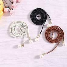 National Style 2019 Hot sale Pearl Knitted Belt New Women Fashion Candy Color Hemp Rope Braid Belts for Dress
