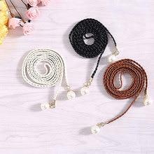 цена на National Style 2019 Hot sale Pearl Knitted Belt New Women Belt Fashion Candy Color Hemp Rope Braid Belts for Women Dress Belt