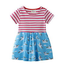 Stripes Girls Summer Dress Baby Girl Clothes Vestidos Kids Dresses for Girls Costume Unicorn Flower Children Princess Clothing недорого