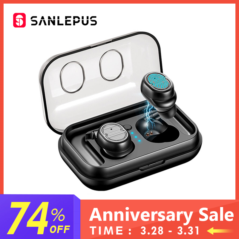 SANLEPUS TWS 5.0 Wireless Headphones Bluetooth Earphones Sports Earbuds Stereo Bass Headset Mini With Dual Microphone For Phones(China)