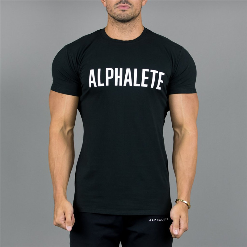 Alphalete Mens Short sleeve cotton t shirt 2018 Summer Gyms Fitness Bodybuilding t shirts Crossfit male Casual Tee tops clothes
