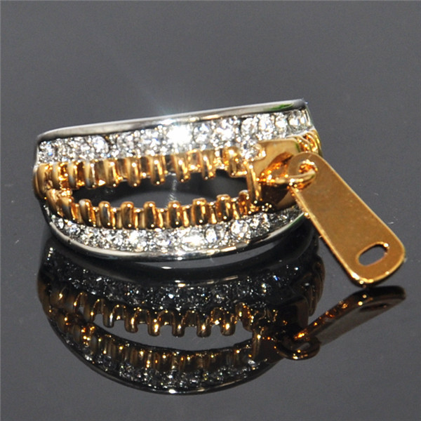 Alisouy Hotsale Size 6 7 8 9 Sepcial Design Gold White Color Sexy Zipper Rings For Women Rhinestones Austria Crystal Rings yoursfs 18k white gold plated austria crystal soliraire anniverary rings with princess cut