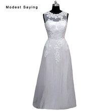 Real Elegant White A-line Illusion Beaded Lace Wedding Dresses 2017 Long Women Bridal Gowns Reception dress robe de mariage LW2